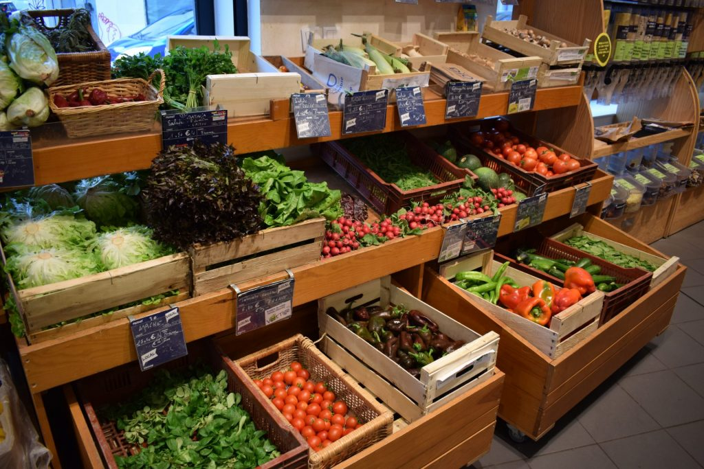 Etalage de produits bio